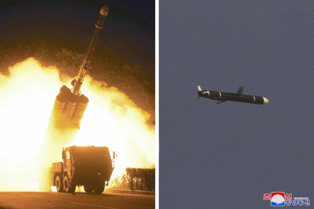 This undated combo picture released from North Korea's official Korean Central News Agency shows the test firing of a reported new type of long-range cruise missile