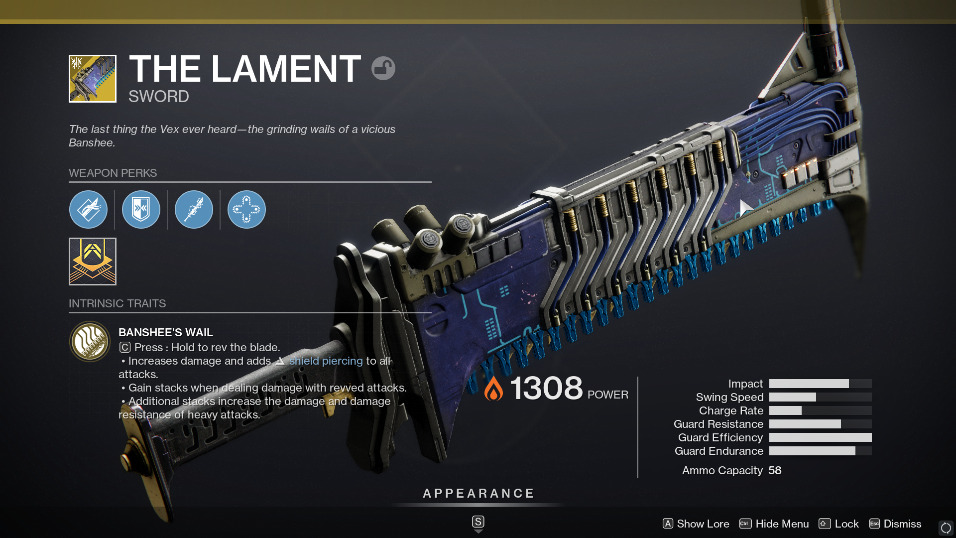 Destiny 2's The Lament is a powerful chainsword capable of melting even the toughest of enemies