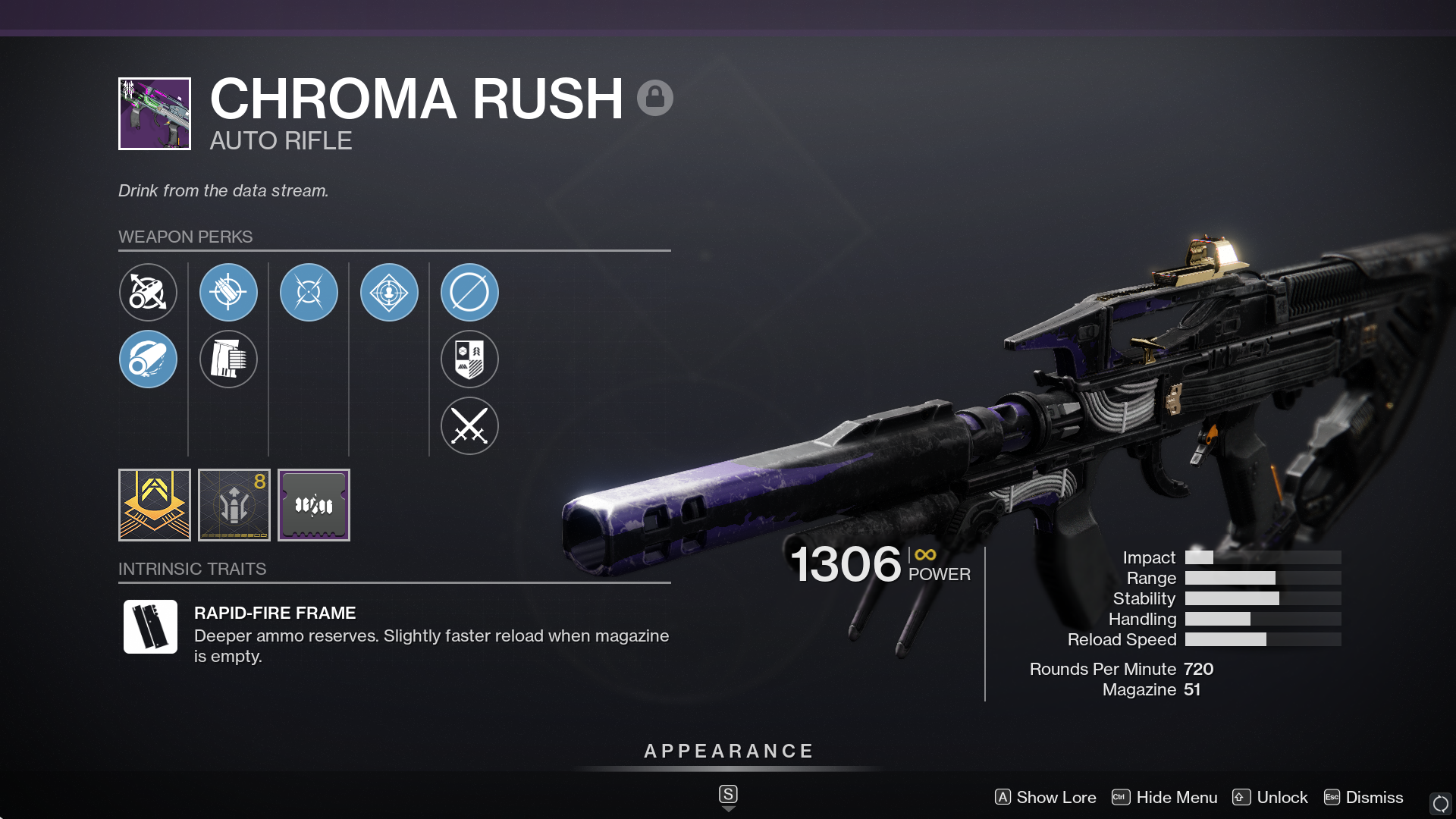 Chroma Rush is a legendary auto rifle in Destiny 2 that sports a high magazine capacity and fast fire rate