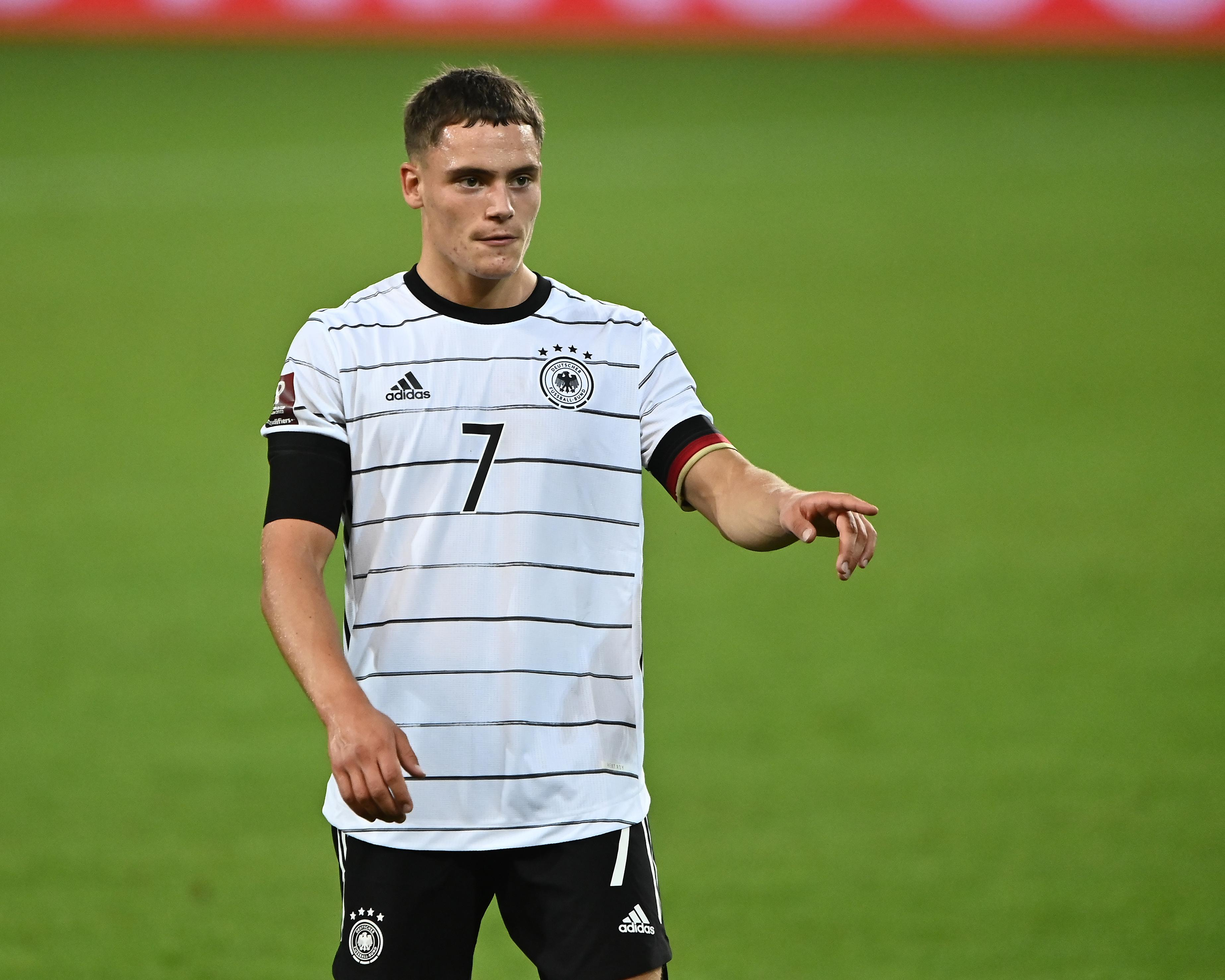 Florian Wirtz gives his team instructions during the 2022 FIFA World Cup Qualifier match between Germany and Armenia