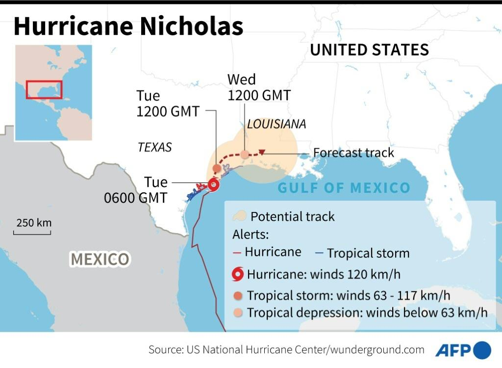Location and predicted path of Hurricane Nicholas in the Gulf of Mexico.