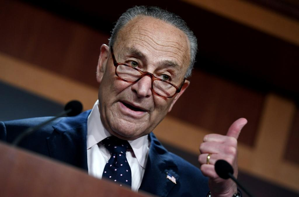 """Shame on him,"""" US Senate Majority Leader Chuck Schumer (pictured) said of Republican Mitch McConnell for not supporting an increase in the government debt limit"""