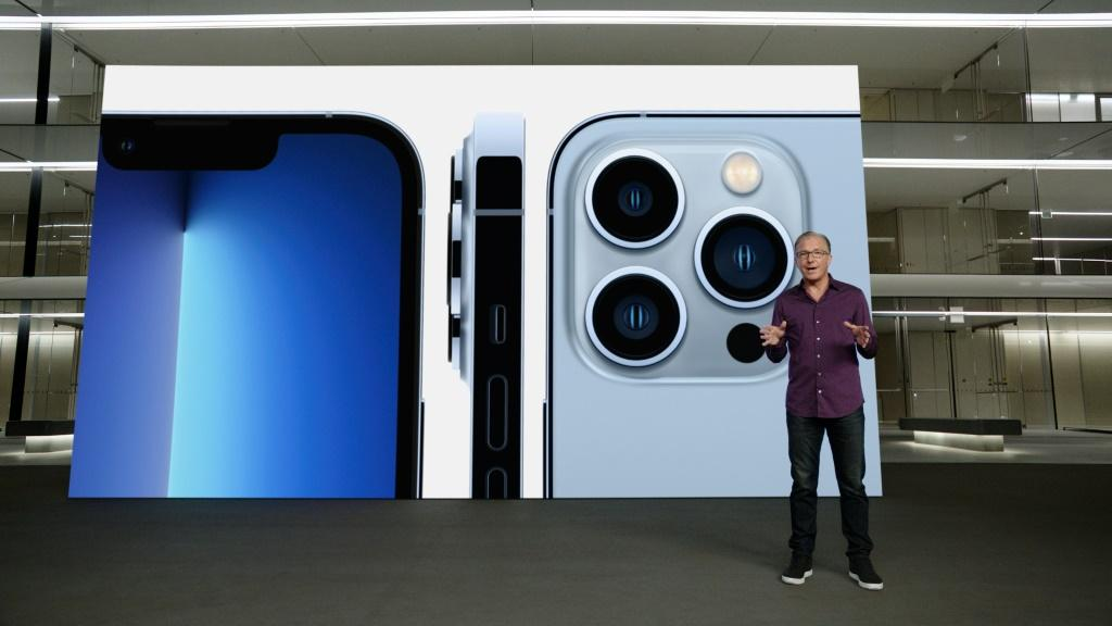 This handout image obtained September 14, 2021 courtesy of Apple Inc. shows Apple's senior vice president of Worldwide Marketing Greg Joswiak talking about the new iPhone 13 Pro