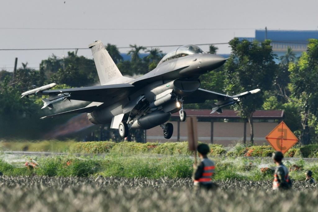 A US-made F16 fighter jet takes off from a motorway in Pingtung, southern Taiwan