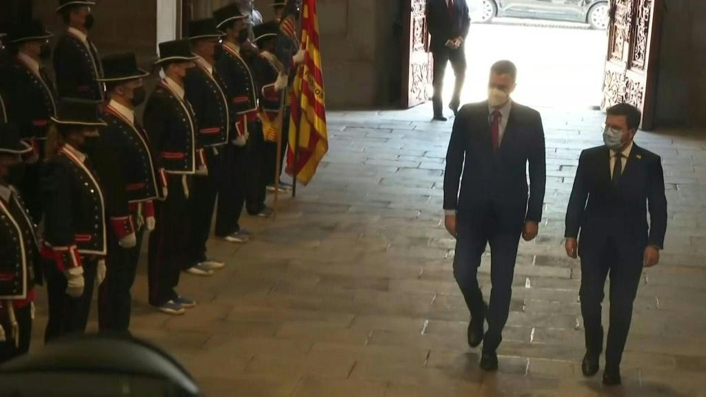 IMAGES Spanish Prime Minister Pedro Sanchez meets with Catalan President Pere Aragonès to restart negotiations between the state and the region. In October 2017, the Catalan regional government staged a referendum banned by Madrid then issued a short-liv