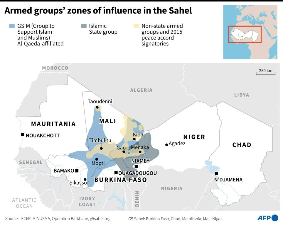 Map showing zones of influence by armed groups in the Sahel.