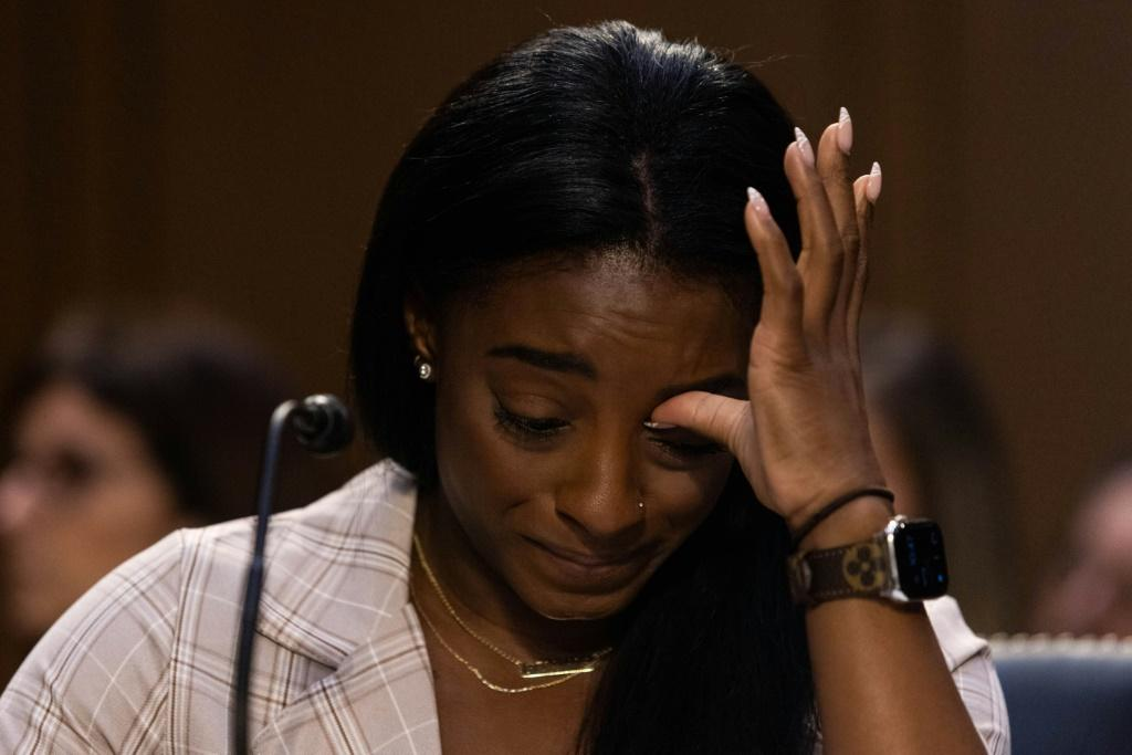 United States Olympic gymnast Simone Biles testifies during a Senate Judiciary hearing about the Inspector General's report on the FBI handling of the Larry Nassar investigation of sexual abuse of Olympic gymnasts, on Capitol Hill, September 15, 2021, in