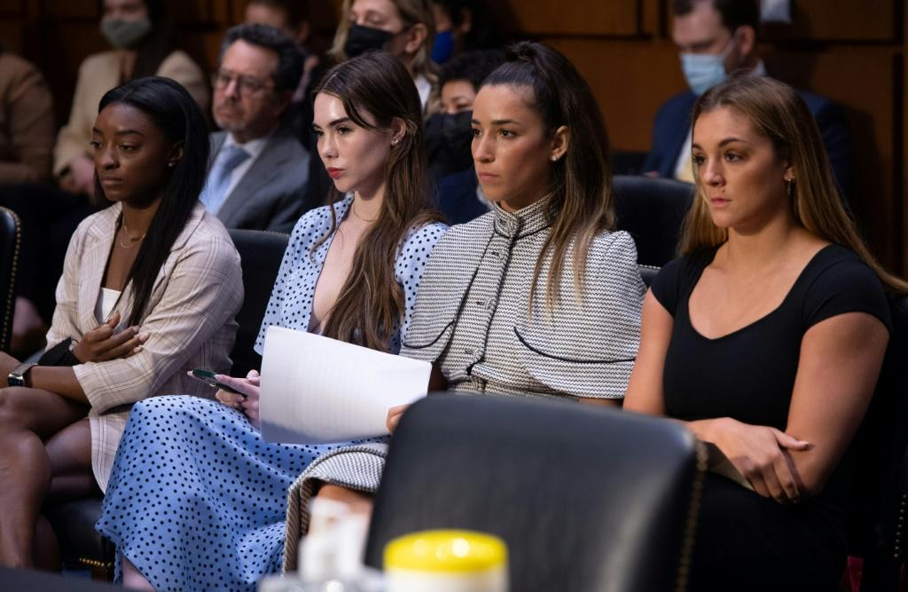 US gymnasts (L-R) Simone Biles, McKayla Maroney, Aly Raisman and Maggie Nichols at a hearing of the Senate Judiciary hearing about the FBI's handling of sexual abuse by former team doctor Larry Nassar