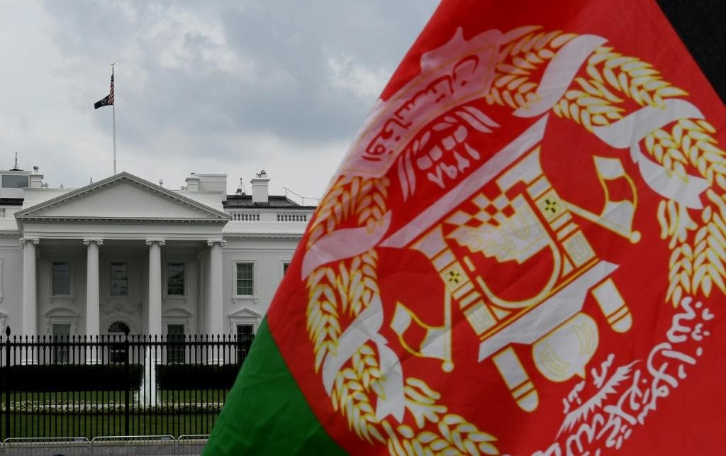 An Afghan flag is displayed outside the White House on August 31, 2021
