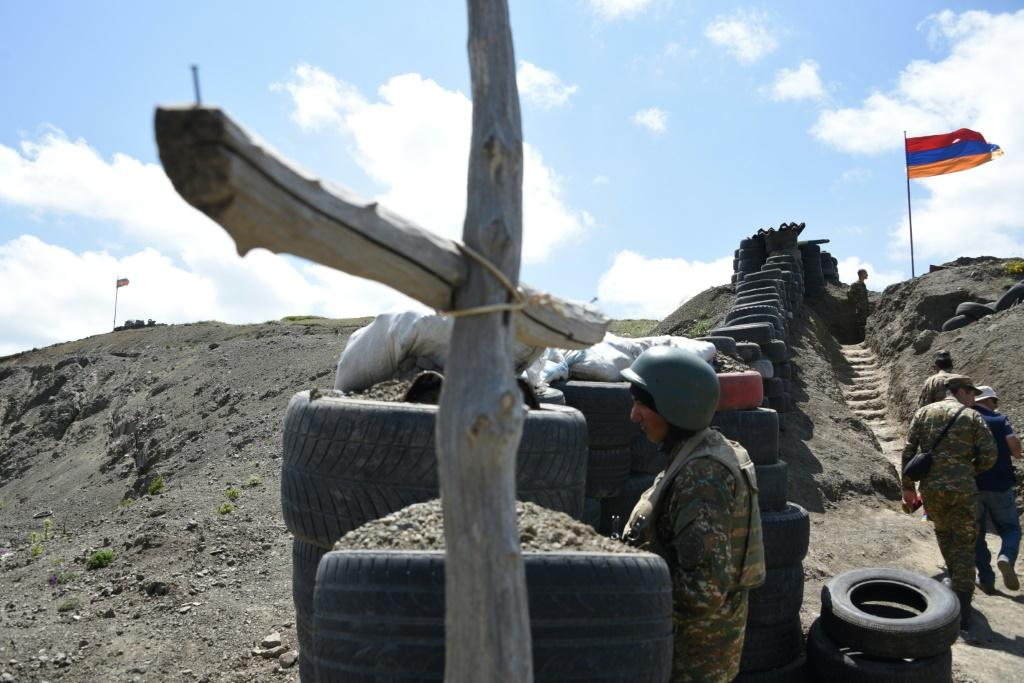 At Armenia's border with Azerbaijan. Decades of tensions over Azerbaijan's breakaway region of Nagorno-Karabakh erupted into a six-week war in 2020 that claimed more than 6,500 lives