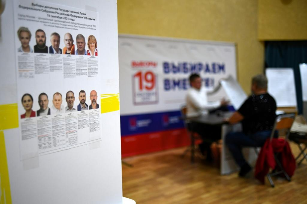 Polling stations, like this one in Moscow, were begining to open in Russia which encompasses 11 time ones
