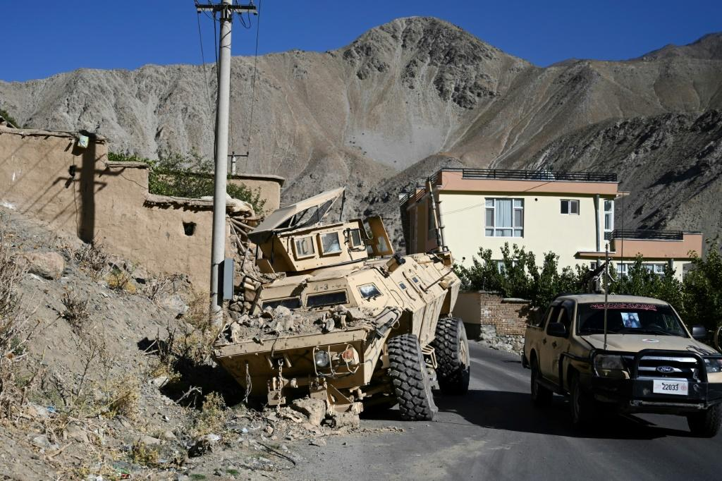 The evidence of Panjshir's resistance can be seen in the twisted and charred remains of Taliban armoured vehicles and pickups