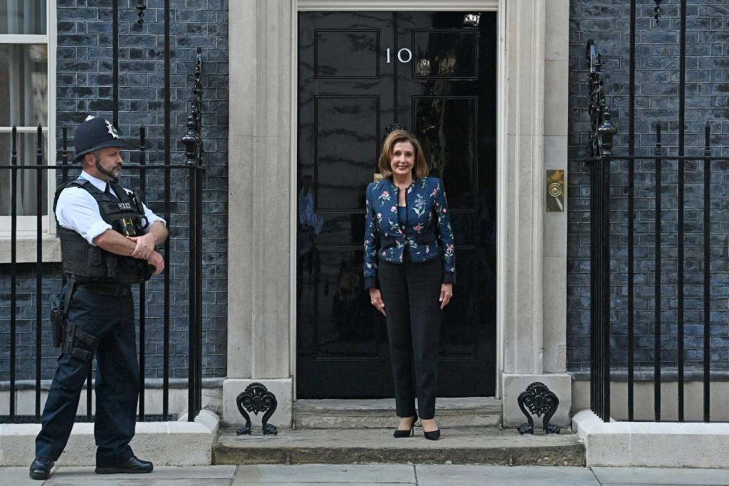 Nancy Pelosi, Speaker of the US House of Representatives, posed for media outside of 10 Downing Street on Thursday as she arrived for a meeting with Britain's Prime Minister Boris Johnson