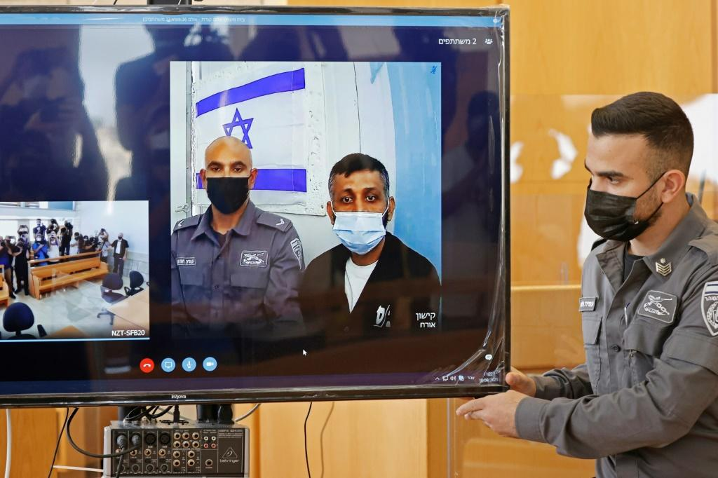 Palestinian militant Mohammad Ardah, one of the six escapees from an Israeli high-security prison, was recaptured on September 11. Here he is shown attending a court session via Zoom