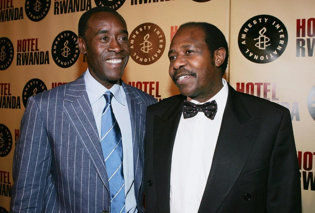 Paul Rusesabagina is pictured with American actor Don Cheadle who played him in the Hollywood film 'Hotel Rwanda'