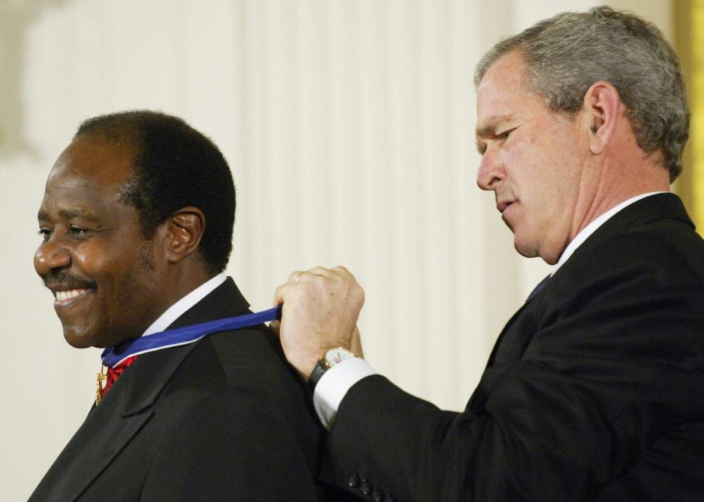Then US president George W. Bush awarded Rusesabagina the Presidential Medal of Freedom in 2005