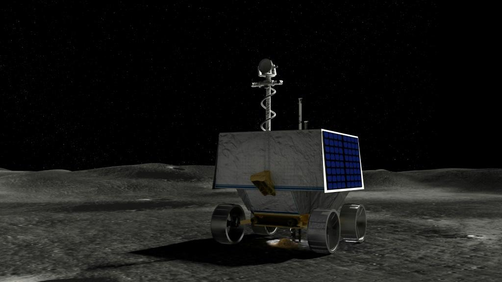 This handout illustration courtesy of NASA shows NASA's Volatiles Investigating Polar Exploration Rover (VIPER) on the surface of the Moon