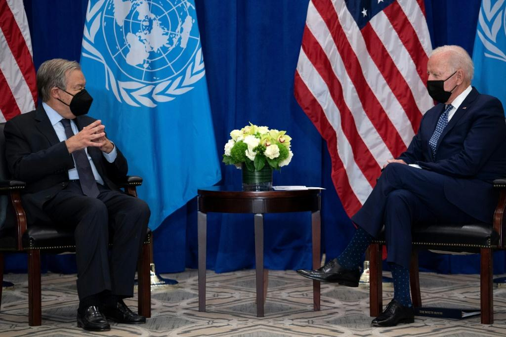 US President Joe Biden meets UN Secretary General Antonio Guterres on September 20, 2021, the eve of his speech to the General Assembly