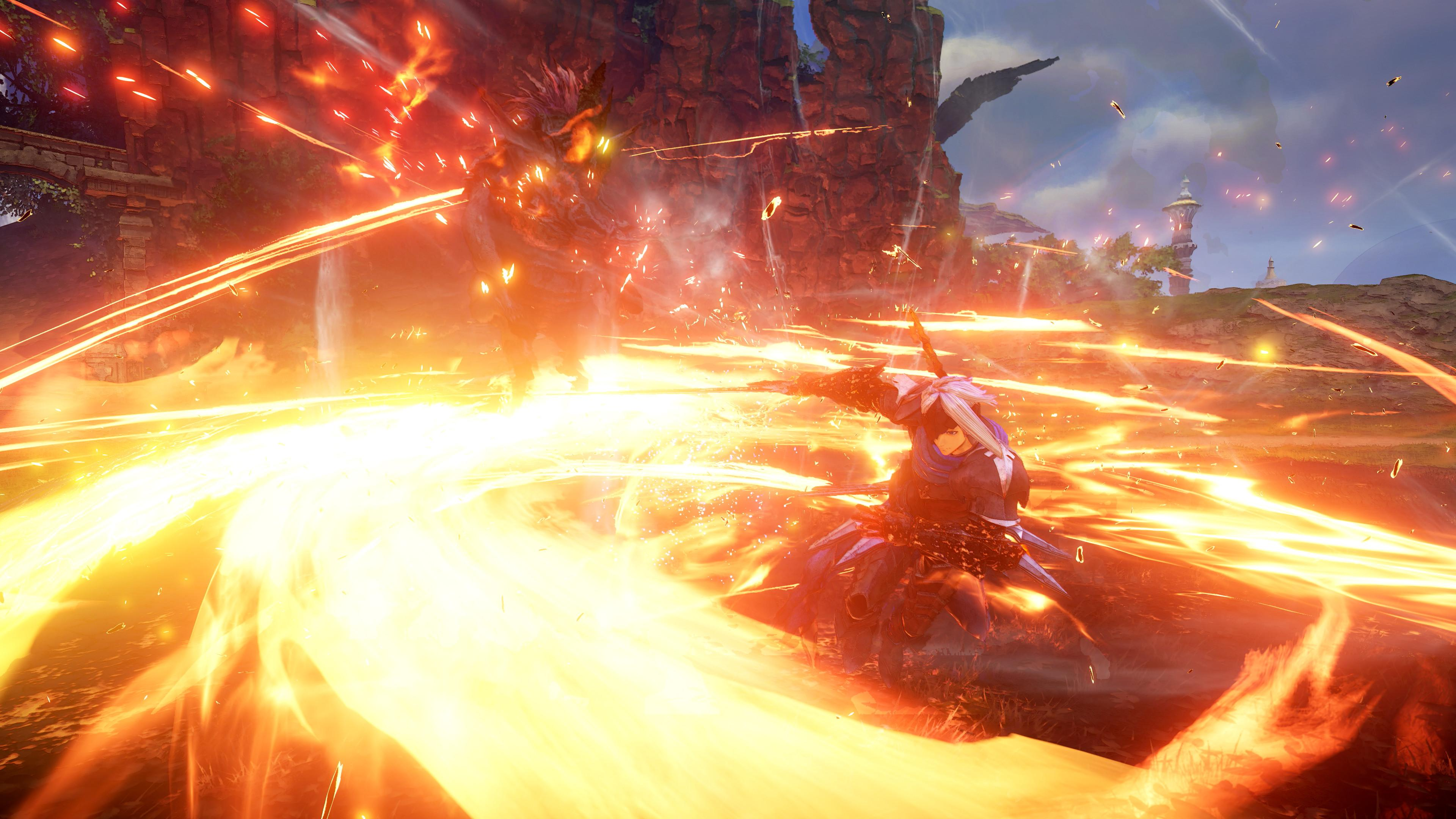 Alphen in Tales of Arise uses swift swordplay mixed with elemental attacks to deal massive damage