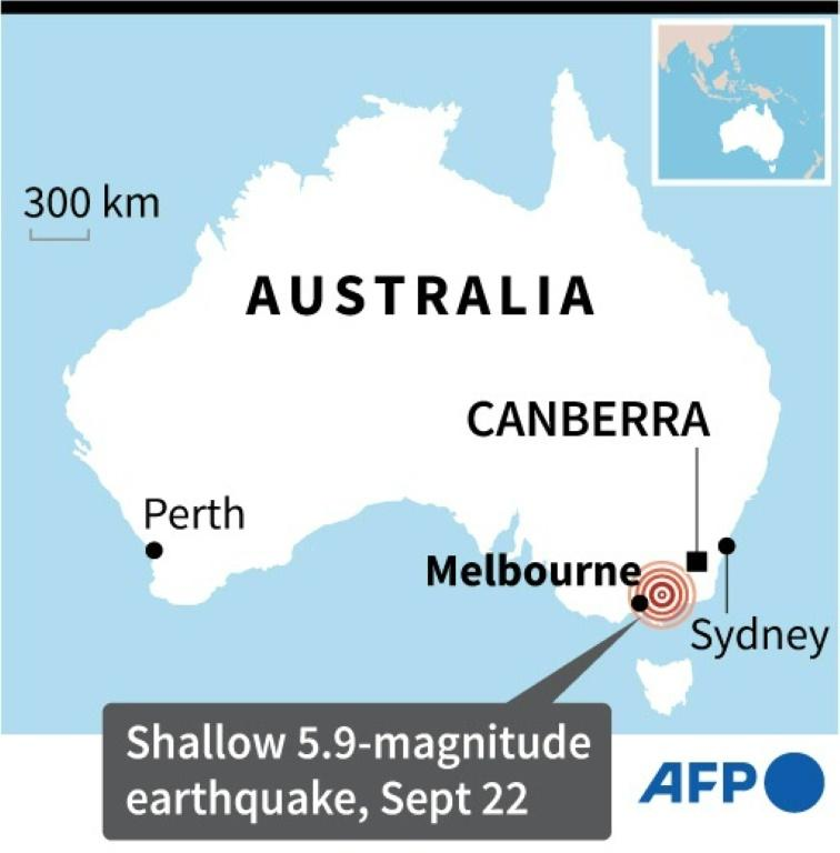 Map of Australia locating a 5.9-magnitude earthquake that rattled southeastern Victoria state early Wednesday.