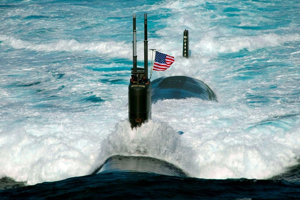 The Los Angeles-class attack submarine USS Tuscon in the East Sea off the coast of South Korea
