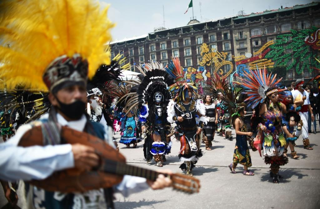Indigenous people mark the 500th anniversary of the last day of native rule before the fall of the Aztec capital Tenochtitlan to Spanish conquistadores in Mexico City's Zocalo square