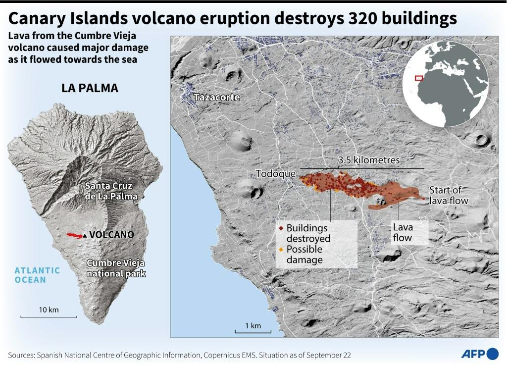 Map of the island of La Palma showing the lava flow from the Cumbre Vieja volcano.