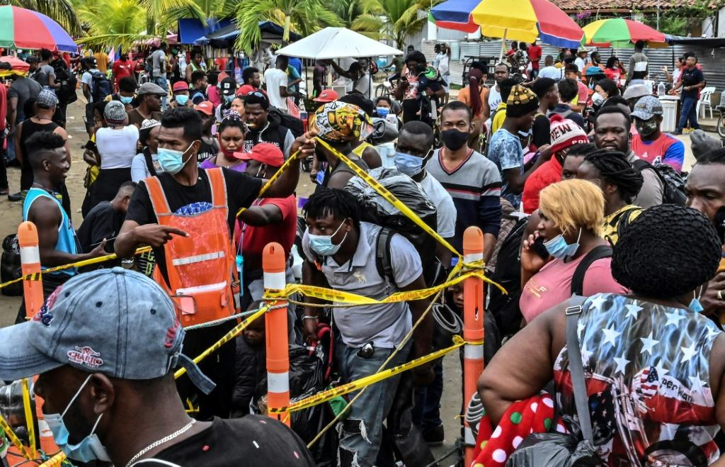 Migrants from Haiti, Cuba and elsewhere in Necocli in northern Colombia, hoping to make their way northward to the United States