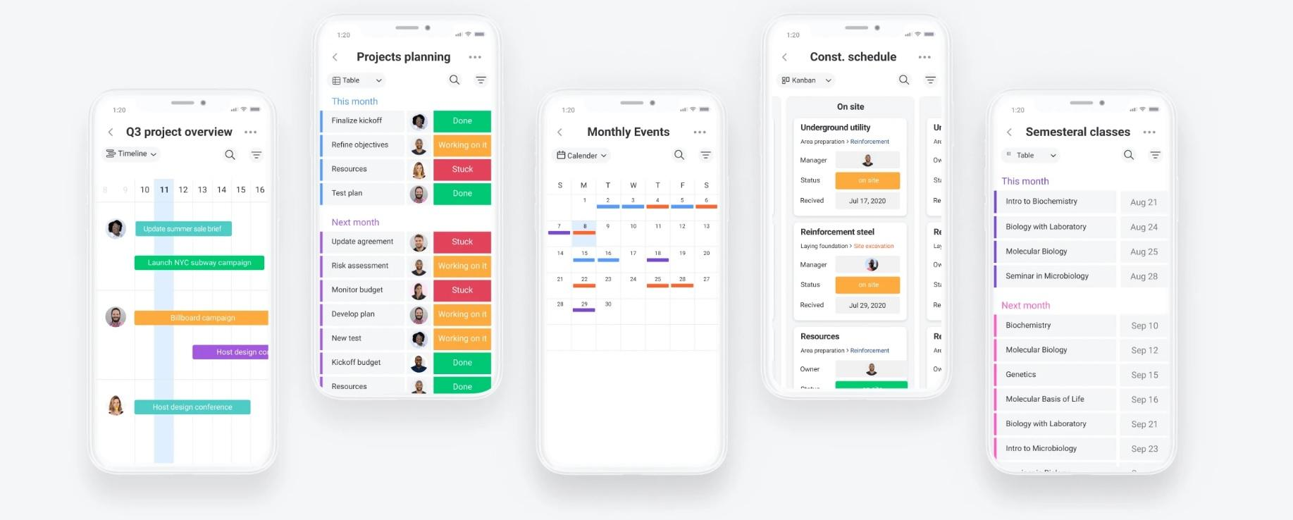 Monday's mobile app for both Android and iOS