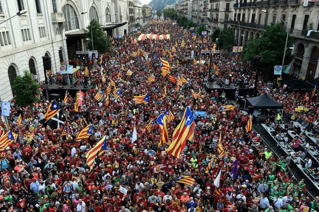Catalan separatists demonstrate in the streets of Barcelona in September