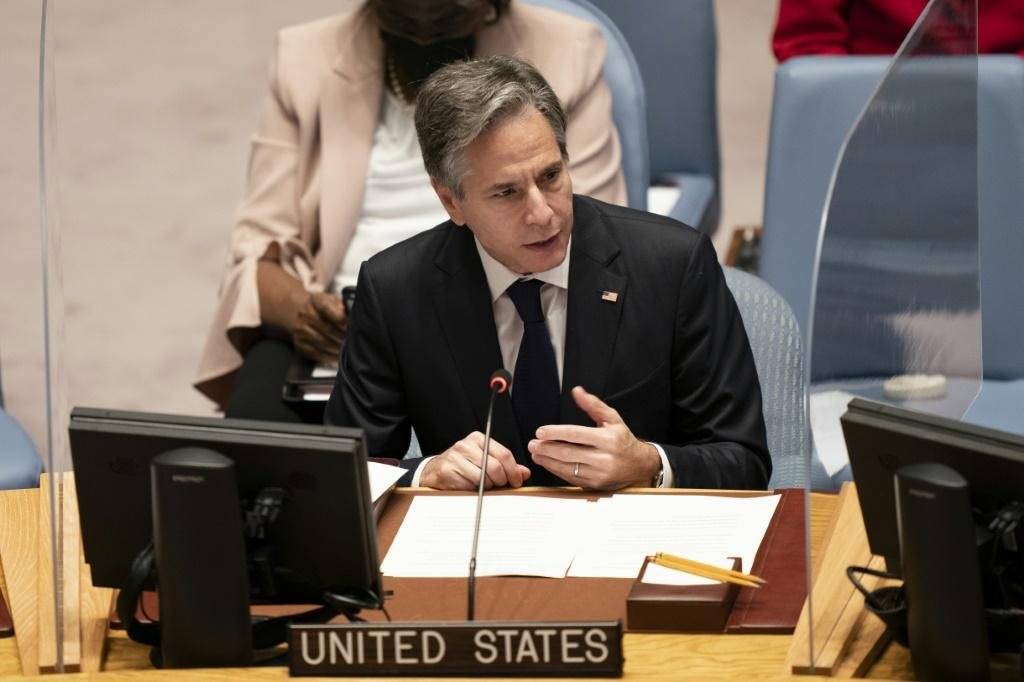 US Secretary of State Antony Blinken addresses a Security Council session on climate