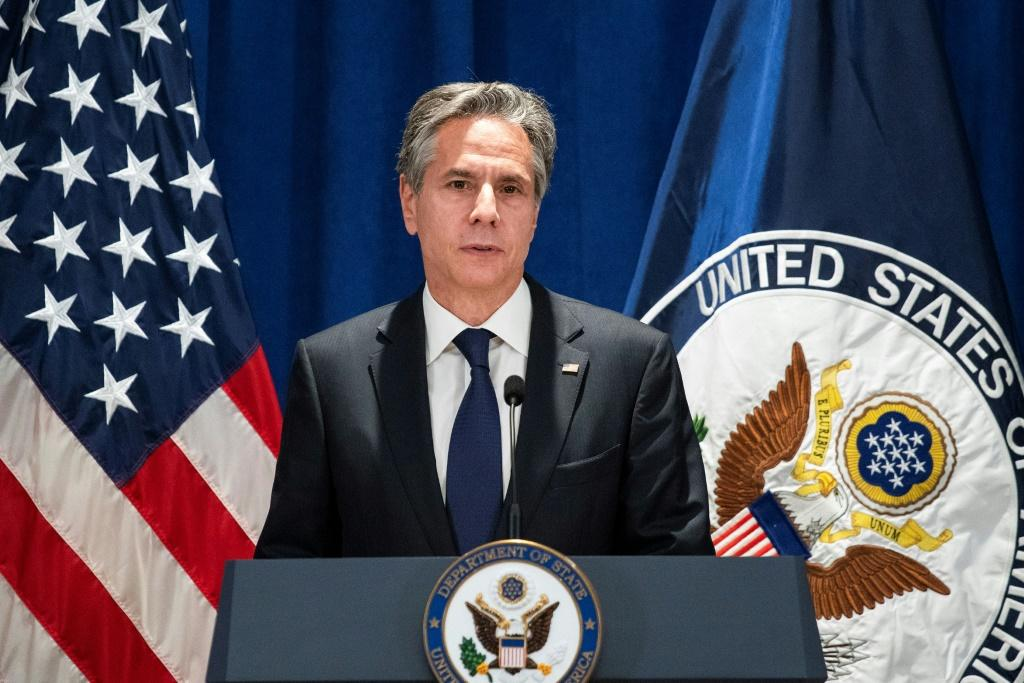 US Secretary of State Antony Blinken speaks to the media after meetings at the UN General Assembly