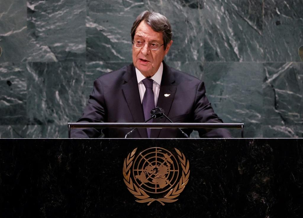 Cyprus' President Nicos Anastasiades addresses the United Nations General Assembly where he criticizes Turkey's stance on the island