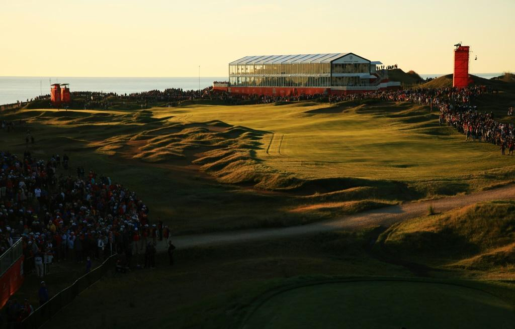 Fans line the first hole at Whistling Straits for the morning fourballs matches on the opening day of the Ryder Cup