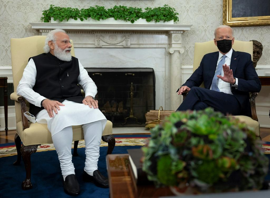 US President Joe Biden meets with Indian Prime Minister Narendra Modi in the Oval Office