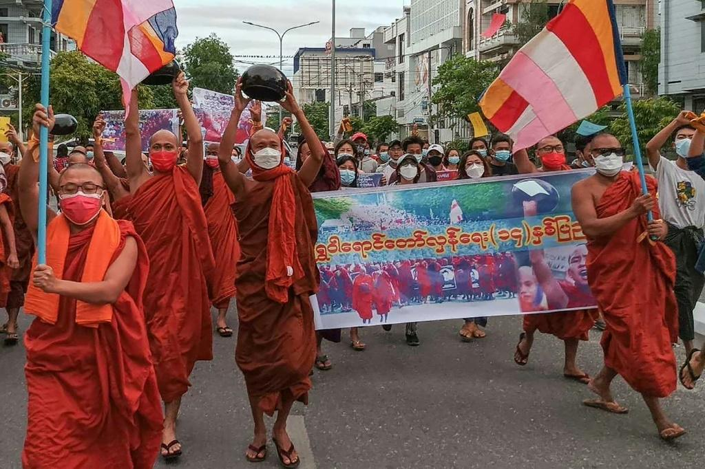 Myanmar's coup has exposed a schism in the monkhood, with some prominent clerics even giving the generals their blessing and others supporting the protesters