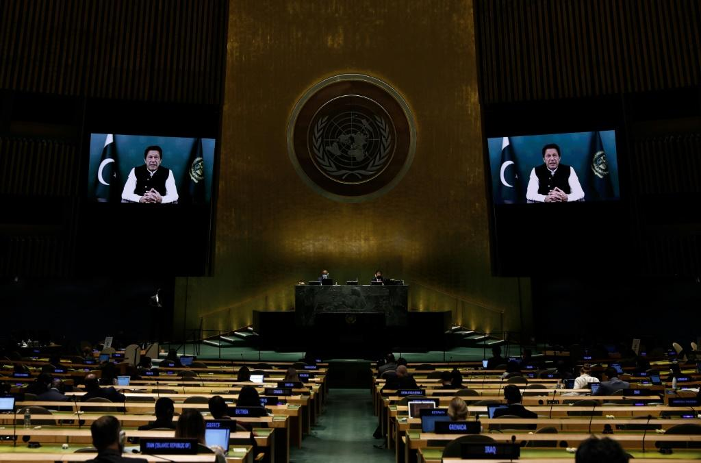 Pakistani Prime Minister Imran Khan addresses the UN General Assembly by video
