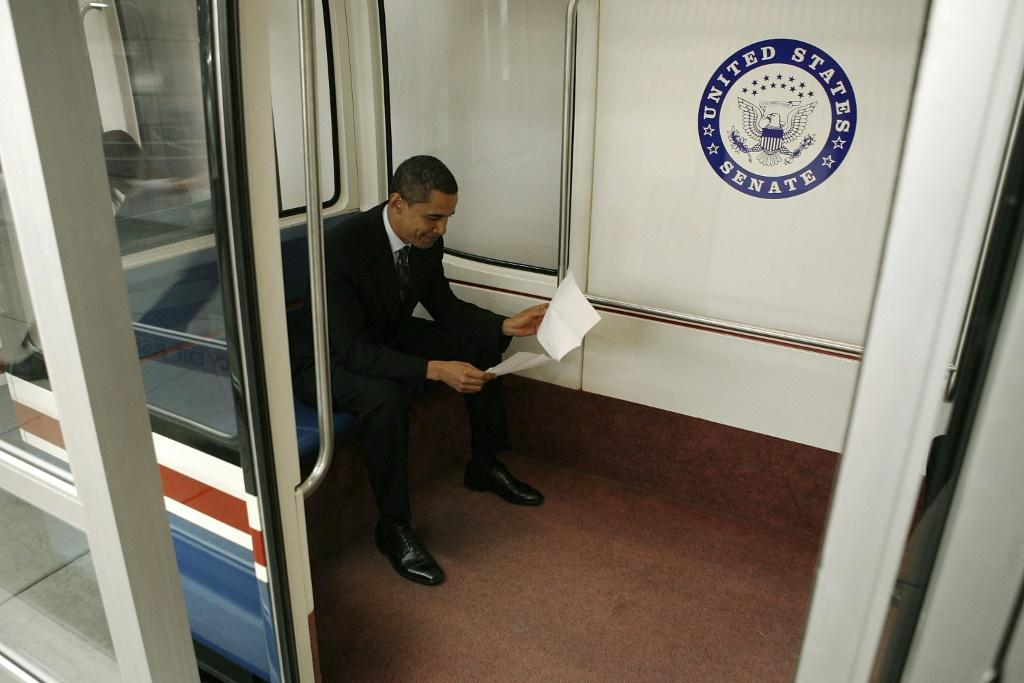 Barack Obama may be one of the world's most famous faces but to his fellow subway passengers in 2007, he was just another senator