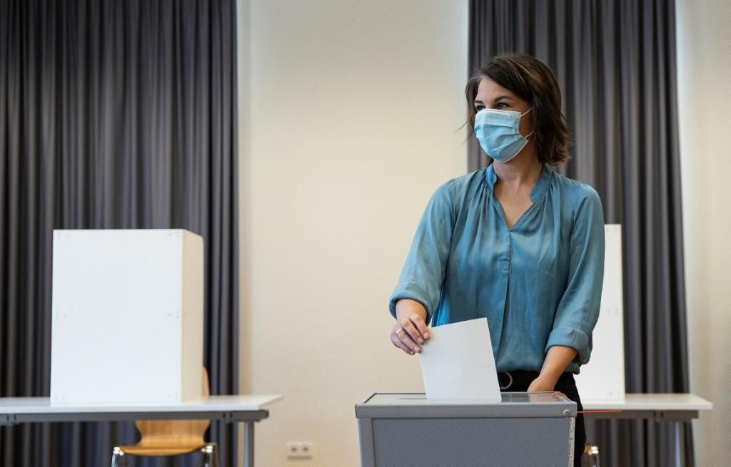 Greens chancellor candidate Annalena Baerbock casts her ballot at a polling station in Potsdam