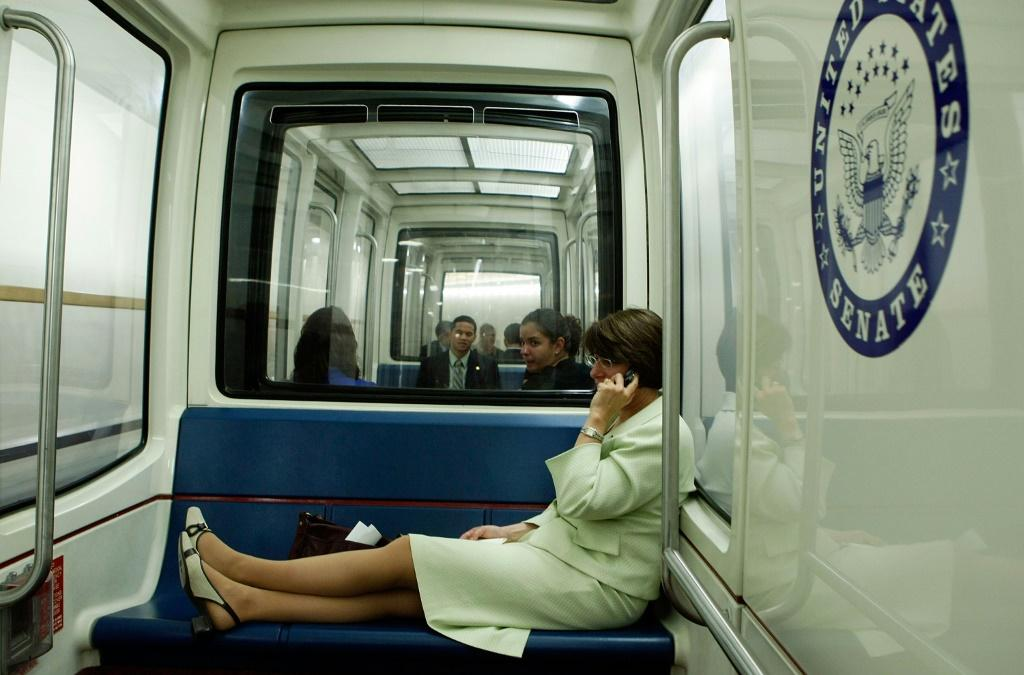 The journey is just enough time for lawmakers such as Democratic Senator Amy Klobuchar, pictured in 2008, to engage in serious political conversation, idle gossip, an impromptu press conference or a pleasant daydream