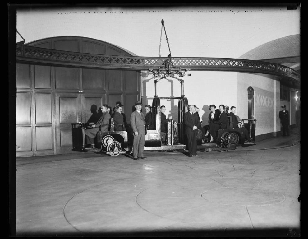 This 1934 image courtesy of the Library of Congress, shows people riding the US Capitol's subway system