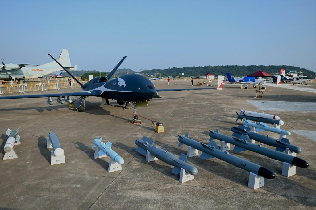 China showcased its new air power at Zhuhai, with a range of drones on display including the WL-10