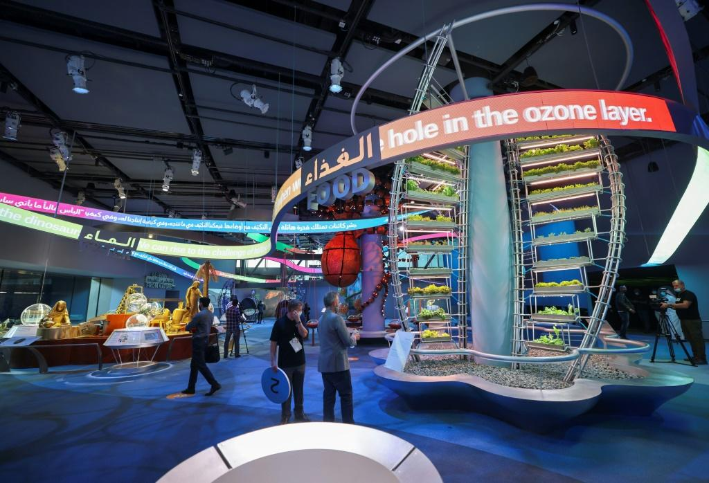 Journalists visit the Sustainability Pavilion during a media tour at the Dubai Expo 2020, a week ahead of its public opening