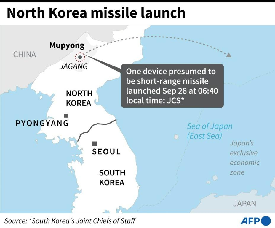 Map showing launch site in North Korea