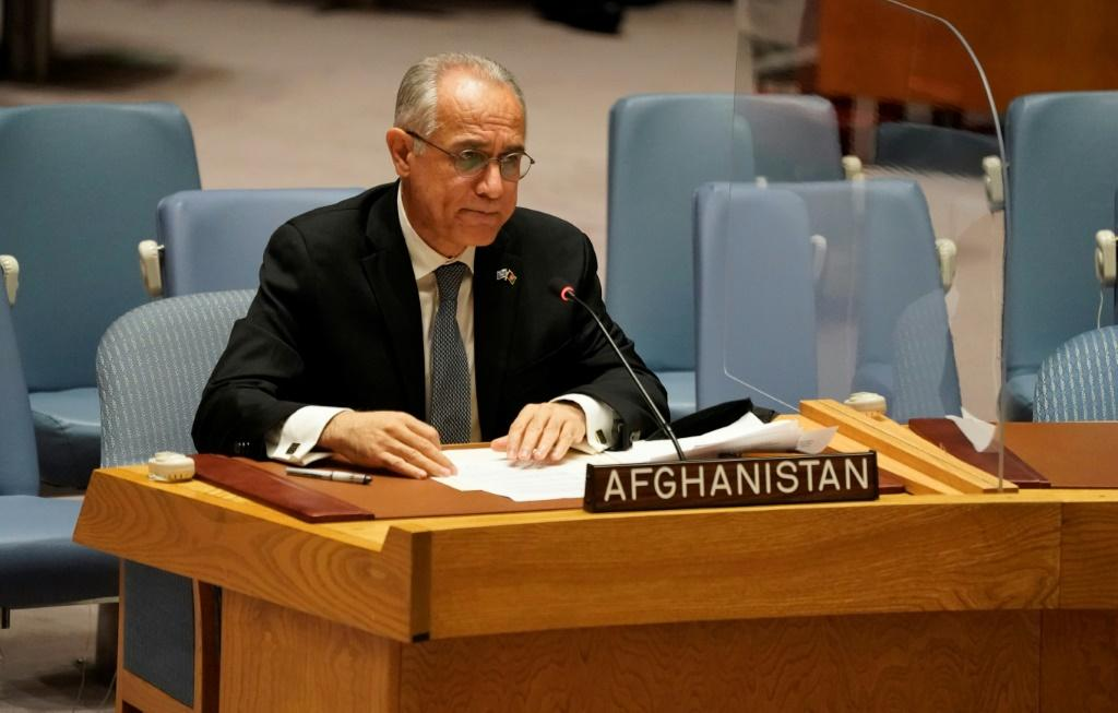 Permanent Representative of Afghanistan to the United Nations, Ghulam M. Isaczai speaks during a UN security council meeting on Afghanistan on August 16, 2021