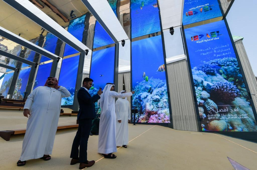 Visitors are pictured in the Israel pavilion during a media tour on September 27, 2021 ahead of the official opening of Dubai Expo 2020