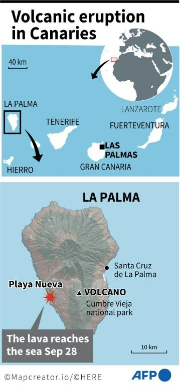 Map locating where lava from the Cumbre Vieja volcano has reached the sea on the Canary Island of La Palma Tuesday