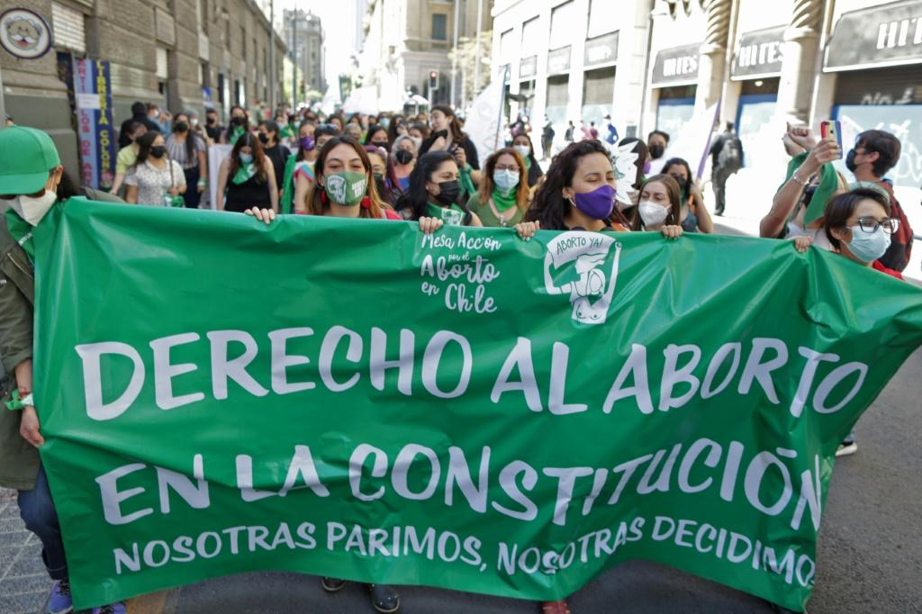 Women in Chile demonstrate in Santiago in favor of reproductive rights on International Safe Abortion Day in Latin America