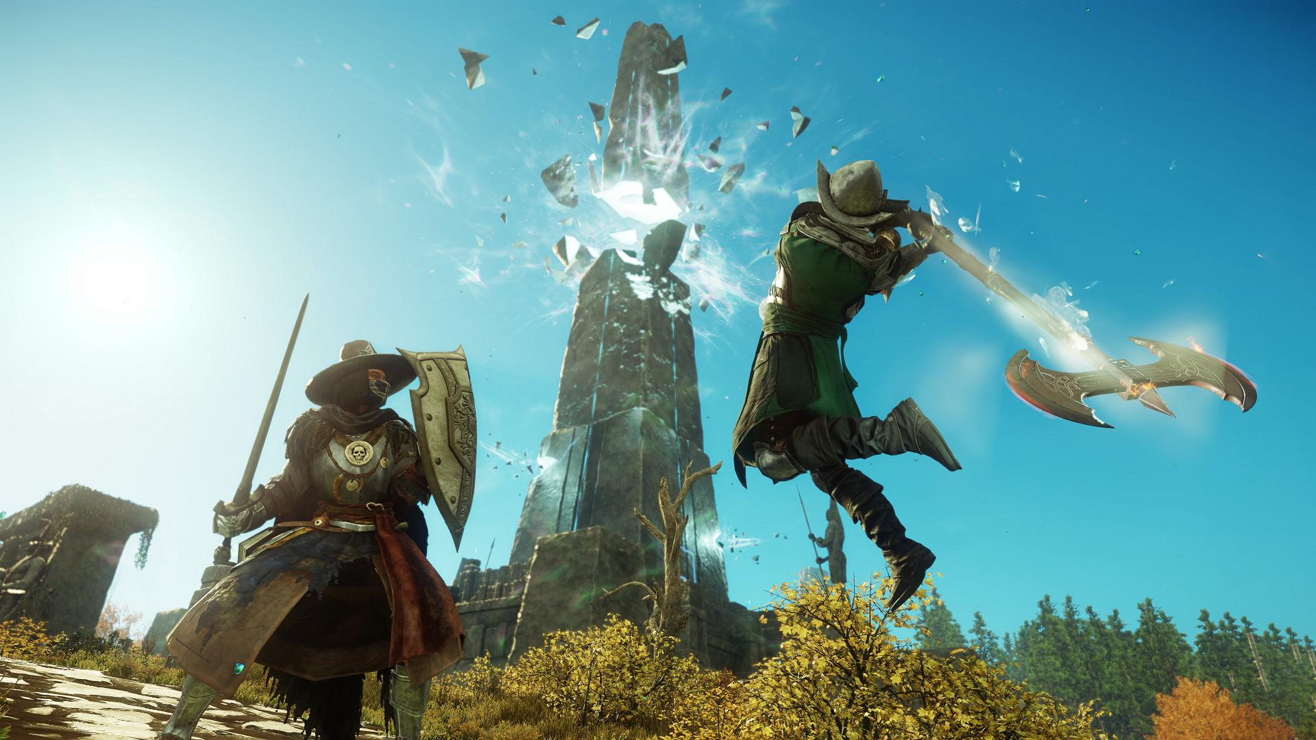 New World's PvP features a skill-based system with ability-oriented combat, manual dodging and stamina management