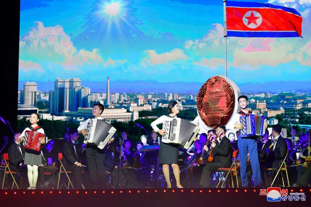 A performance to mark the 76th anniversary of the Workers' Party of Korea, at Pyongyang Circus Theater